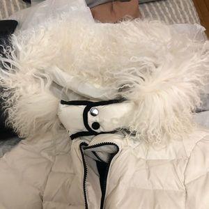 Moncler jacket white with lamb fur
